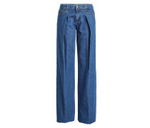 Flared Jeans mit Faltenwurf