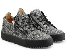 Sneakers aus Leder mit Glitter-Finish