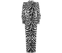 Cocktailkleid aus Samt mit verzierten Knöpfen und Animal Print