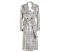 Karierter Mantel aus Schurwolle mit transparentem Overlay