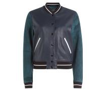 College-Jacke aus Leder und Veloursleder