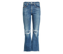 Cropped Flared Jeans im Distressed Look