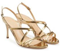 Mid-Heel-Sandalen aus Lackleder in Metallik-Optik