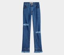 Bootcut Jeans mit Fransen