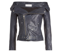Lammleder-Jacke mit Bardot-Ausschnitt