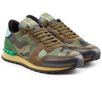 Camouflage-Sneakers Rockrunner aus Leder und Veloursleder