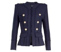 Tweed-Blazer mit geprägten Knöpfen