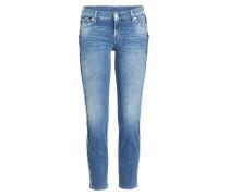 Straight Leg Jeans mit ausgefransten Nähten