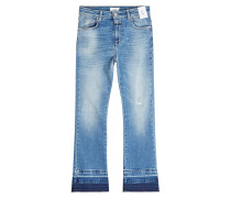Cropped Flared Jeans im Used Look