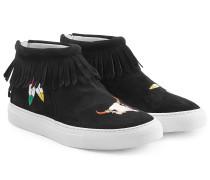 Bestickte High-Top-Sneakers aus Veloursleder mit Fransen