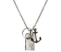 Halskette aus Sterlingsilber mit Anker, Ring und Tag