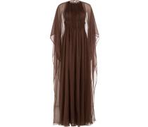 Bodenlange Robe im Cape-Look aus Seide