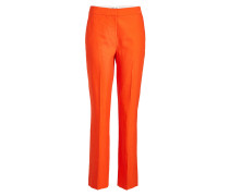 Cropped Straight Leg Pants mit Leinen