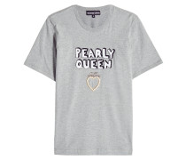 T-Shirt aus Baumwolle mit Pailletten und Décor