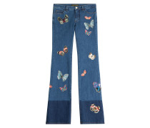 Flared-Jeans mit Schmetterlingen