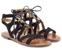 Sandalen aus Veloursleder zum Schnüren