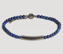 Armband mit Perlen und Edelstahlschild