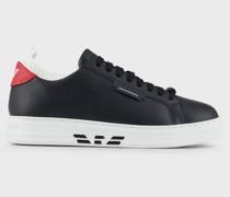 Sneaker aus Leder mit Strickeinsatz