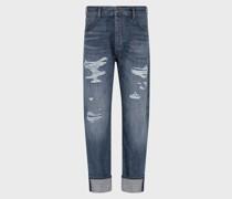 J70 Loose Fit-jeans aus Denim im Used-Look mit Rissen