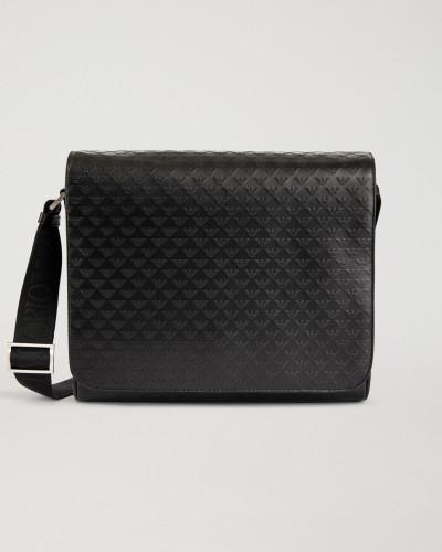 Messenger Bag aus Leder mit Allover-logo