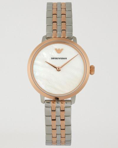 Uhr mit Zifferblatt aus Perlmutt und Geflochtenem Gliederarmband