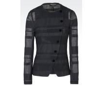 Jacke aus Plissee mit Rundhalsausschnitt