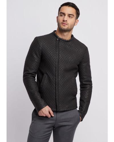Jacke aus Gelasertem, Vorgewaschenem Nappaleder mit 3d-effekt
