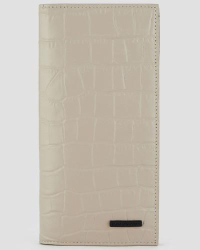 Vertikales Portemonnaie aus Leder mit Krokoprägung