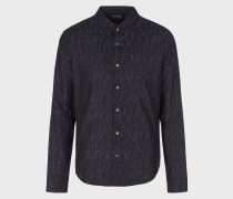 Hemd aus Jacquard-Baumwolle mit Allover-beschriftung