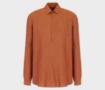 Hemd aus Twill mit Teilweisem Reißverschluss