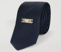 Krawatte aus Reiner Seide mit Logo-plakette