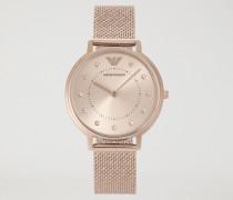 Analoge Edelstahluhr mit – Die Uhrzeit Anzeigen den – Kristallen
