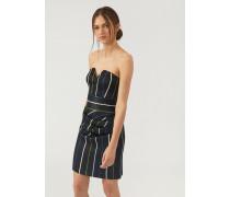 Kleid mit Herzförmigem Ausschnitt aus Lurexgewebe mit Nadelstreifen