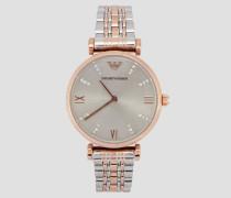 Uhr mit Geflochtenem Gliederarmband und Kristallen Auf Dem Blatt, Edelstahlgehäuse mit Plattierung in Roségold