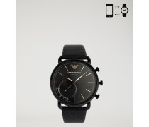 Hybrid-Smartwatch mit Armband aus Gehämmertem Leder