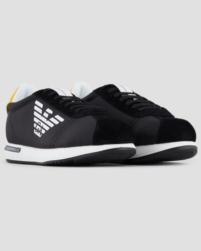 Sneakers aus Nylon und Veloursleder mit Logo-print