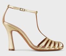 T-Strap-Sandalen aus Laminiertem Leder