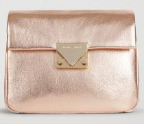 Crossbody Bag Aus Leder In Lamé-optik