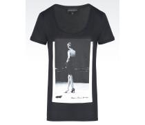 Baumwoll-T-Hemd mit weitem Rundhalsausschnitt