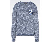 Pullover aus Baumwollmix mit Blumen-Anstecknadel