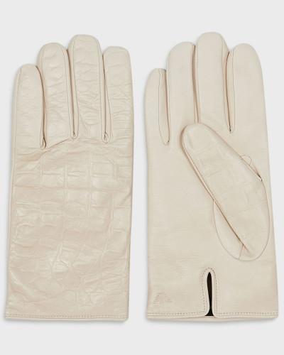 Handschuhe aus Lammleder in Kroko-prägung