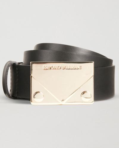 Ledergürtel mit Metallschnalle mit Logo