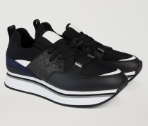 Sneaker Mit Hoher Sohle Und Glitzerapplikationen