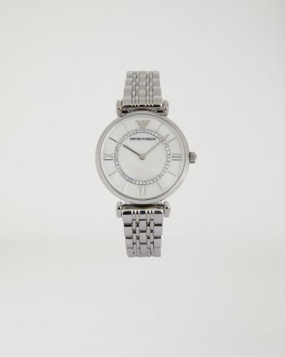 Uhr aus Edelstahl mit Deko-kriatallen und Gliederarmband