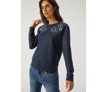 Sweatshirt Mit Blumenstickerei An Den Schultern