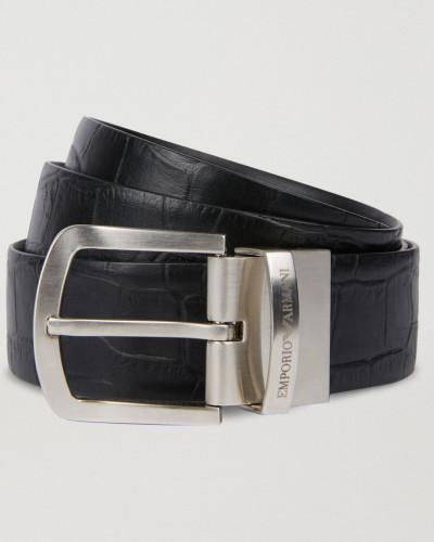 Wendegürtel aus Glattem Leder und Leder mit Kroko-prägung
