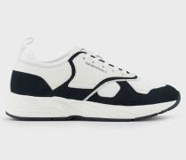 Sneaker aus Nubukleder mit Mesh-Details
