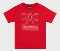 T-Shirt aus Jersey mit Adler in Optischem-Muster