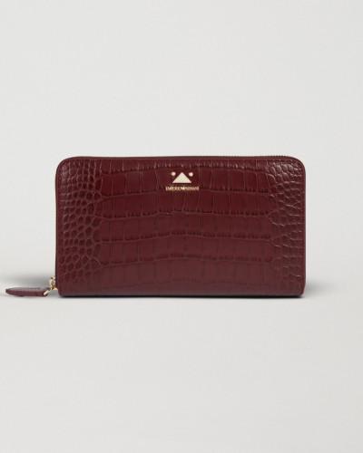Portemonnaie im Querformat mit Reißverschluss aus Leder mit Kroko-prägung