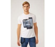 T-shirt Aus Baumwolljersey Mit Applikationen
